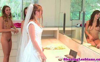 Madrinhas safadas transando com a noiva